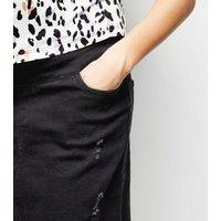 Black Distressed Denim Over Bump Mini Skirt New Look