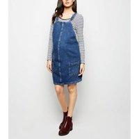 Maternity Blue Denim Mini Pinafore Dress New Look