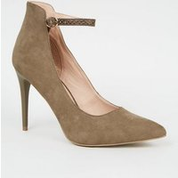 Khaki Faux Snake Strap High Cut Court Shoes New Look