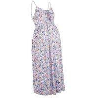 Maternity Lilac Floral Lattice Front Midi Dress New Look