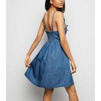 Petite Pale Blue Lattice Front Denim Mini Dress New Look