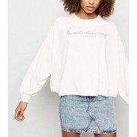 Pale Pink Merci Beaucoup Slogan Batwing Sweatshirt New Look
