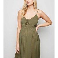 Maternity Khaki Lace Up Midi Dress New Look