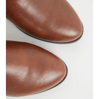 Wide Fit Tan Side Zip Ankle Boots New Look