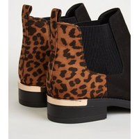Wide Fit Black Leopard Print Metal Trim Chelsea Boots New Look