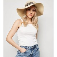 Cream Woven Straw Effect Leopard Print Band Floppy Hat New Look