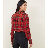 Cameo Rose Red Check Chain Print Shirt New Look