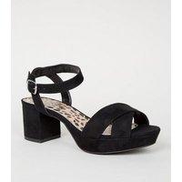 Girls Black Leopard Print Insole Platform Sandals New Look Vegan
