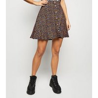 Black Ditsy Floral Button Up Mini Skirt New Look