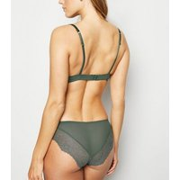Olive Satin Lace Trim Push-Up Bra New Look