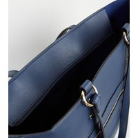 Navy Leather-Look Tote Bag New Look
