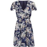 Mela Navy Floral Wrap Dress New Look