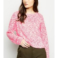 Pink Neon Nep Knit Boxy Top New Look