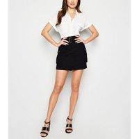Black Utility Pocket Belted Denim Skirt New Look