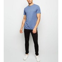 Blue Marl Crew Neck Cotton T-Shirt New Look
