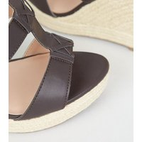 Wide Fit Brown Strappy Espadrille Wedge Sandals New Look