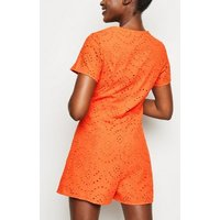 Bright Orange Button Up Broderie Playsuit New Look