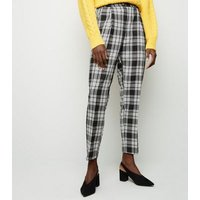 Tall Black Woven Check Trousers New Look