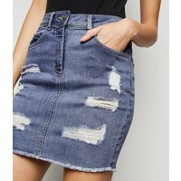 Blue Ripped Denim Mini Skirt New Look