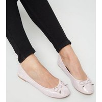 Wide Fit Lilac Faux Croc Elasticated Ballet Pumps New Look