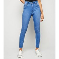 Petite Bright Blue Mid Rise India Super Skinny Jeans New Look