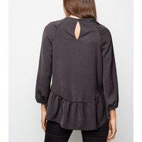 Dark Grey 3/4 Sleeve Peplum Blouse New Look
