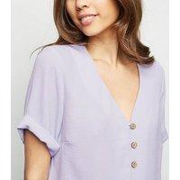 Lilac Button Through Boxy Shirt New Look