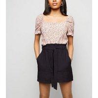 Petite Black Paperbag Shorts New Look