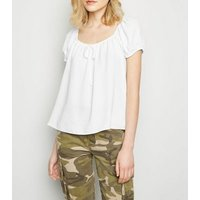 White Tie Front Square Neck Top New Look