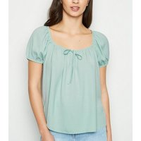 Mint Green Tie Front Square Neck Top New Look