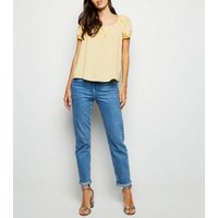 Pale Yellow Tie Front Square Neck Top New Look
