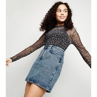 Girls Blue Acid Wash Ring Zip Denim Skirt New Look