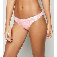 Pink Neon Check Hipster Bikini Bottoms New Look