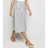 Off White Stripe Linen Blend Midi Skirt New Look