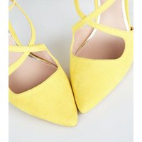 Wide Fit Yellow Suedette Strappy Pointed Stilettos New Look