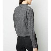 grey brushed ribbed batwing top new look
