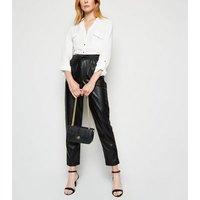 Black Faux Croc Chain Shoulder Bag New Look