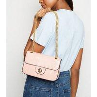 Pink Faux Croc Chain Strap Shoulder Bag New Look