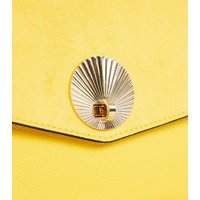 Yellow Suedette Shell Disc Clutch Bag New Look Vegan