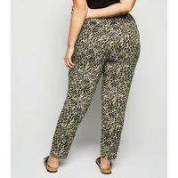 Curves Khaki Leopard Print Woven Joggers New Look