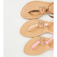 Nude Diamanté Linked Ring Strap Flat Sandals New Look