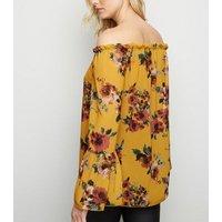 Mela Mustard Floral Print Bardot Top New Look