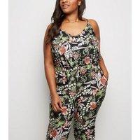 Mela Curves Black Floral Jumpsuit New Look