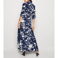 Blue Vanilla Blue Floral Maxi Shirt Dress New Look