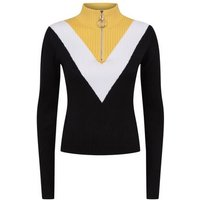 cameo rose yellow chevron ribbed zip neck jumper new look