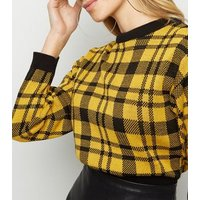 Cameo Rose Yellow Check Cropped  Jumper New Look