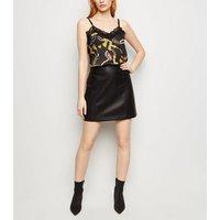 Cameo Rose Black Satin Chain Print Cami New Look
