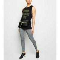Black Best Life Neon Slogan Sports Vest New Look
