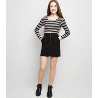 Girls Black Ring Zip Utility Mini Skirt New Look