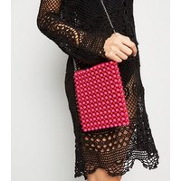 Red Beaded Pouch Shoulder Bag New Look
